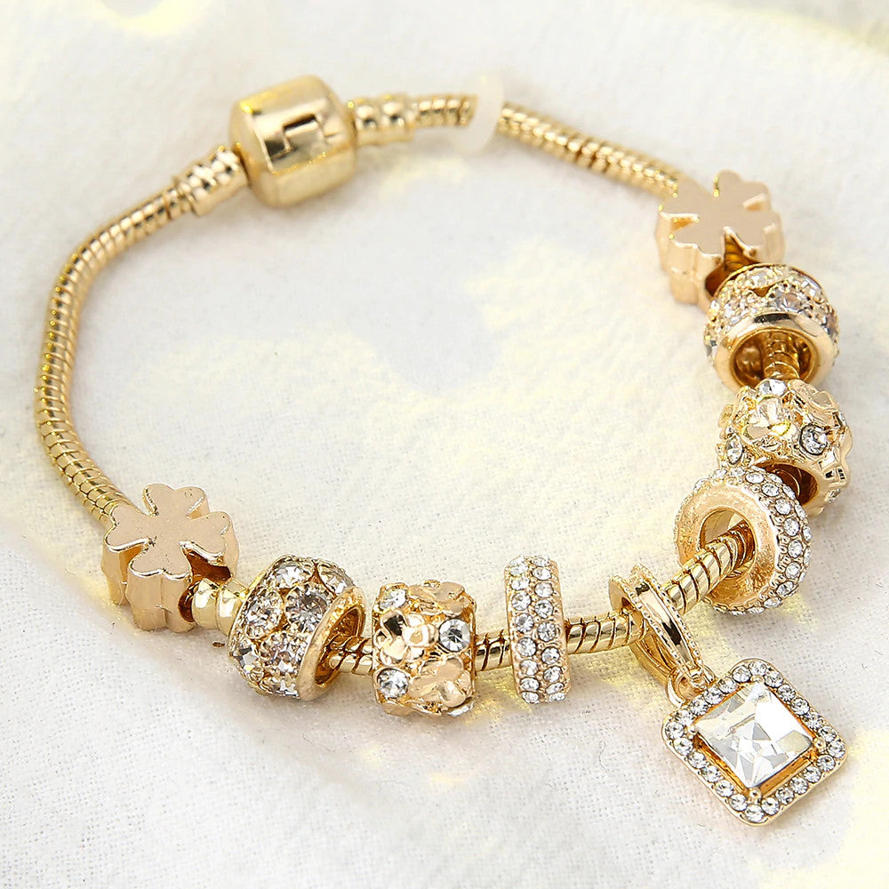 Luxurious Plated Gold Charms Bracelet