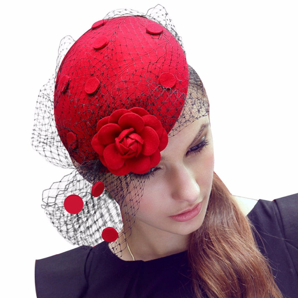 Fascinators Floral Netting 100% Wool Felt Ladies Hat