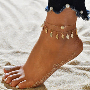 Double Layer Beads Pendant Anklet Foot Chain