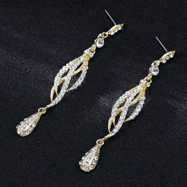 Silver/Gold SG Color Rhinestone Long Earrings