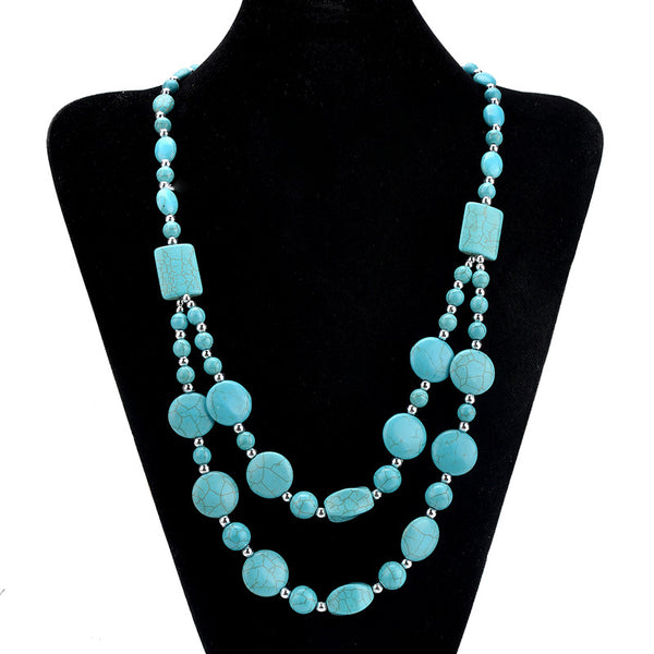 Double Layered - Prismatic Turquoises Long Necklace