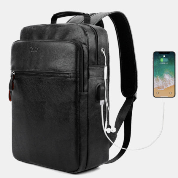 USB - Leather Backpack
