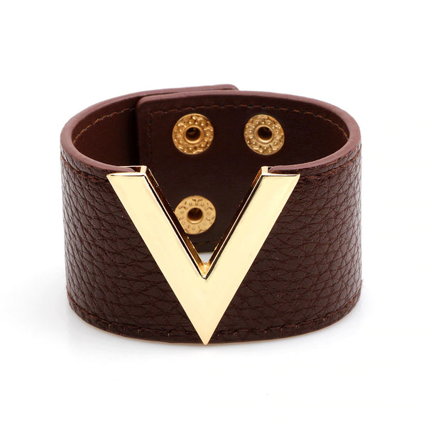 Metal V Wide Leather Bracelet