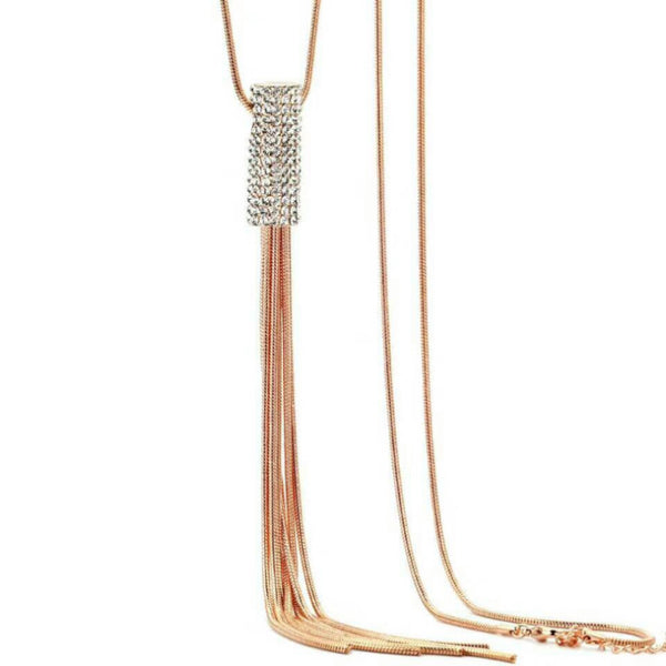 Rhinestone Statement Tassel Long Necklace