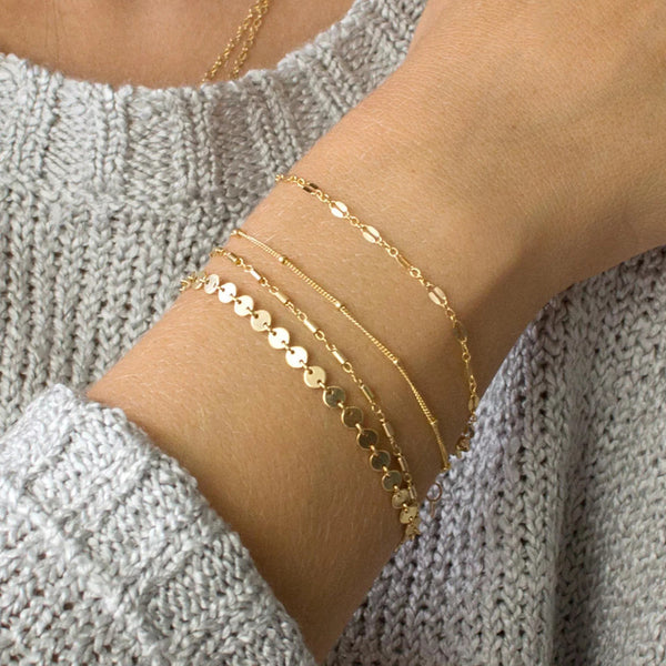 4pcs/set Gold Silver Bracelets