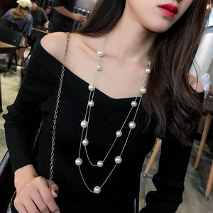 Long Double Layered Pearl Necklace