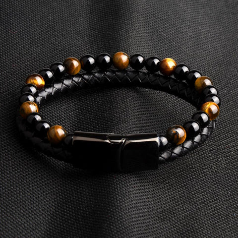 Natural Stone&Leather Bracelet