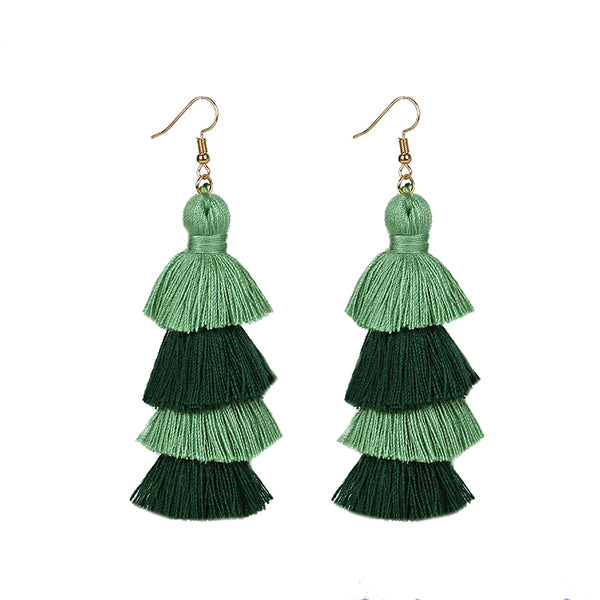 Summer Neon Tiered Long Tassel Earrings