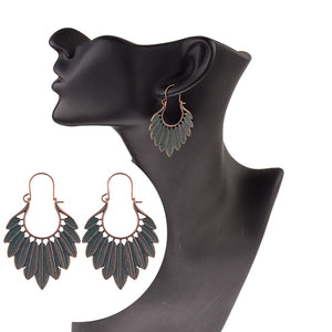 Ethnic Bronze Green Leaf Tassel Earrings