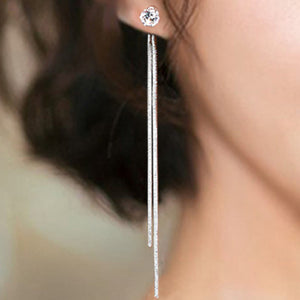 Rhinestone Long Drop Earrings