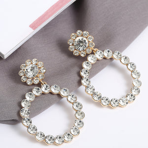 Crystal Round Drop Earrings