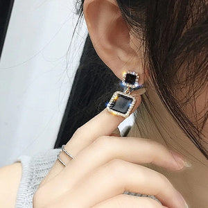 Black Square Geometric Earrings