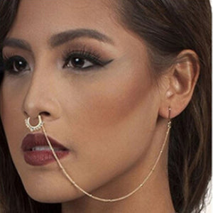 Nose Ring With Chain Earring