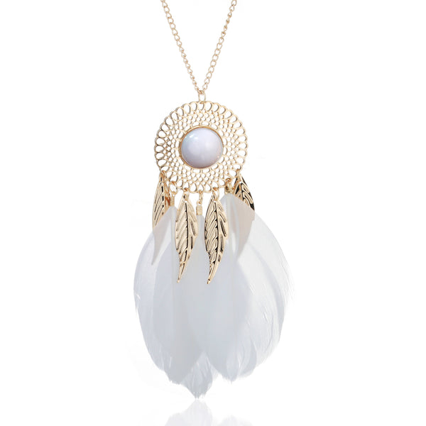White and Gold Dream Catcher Necklace