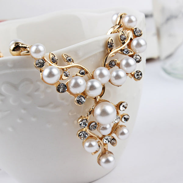 White Pearls and Gold Set Earrings + Necklace