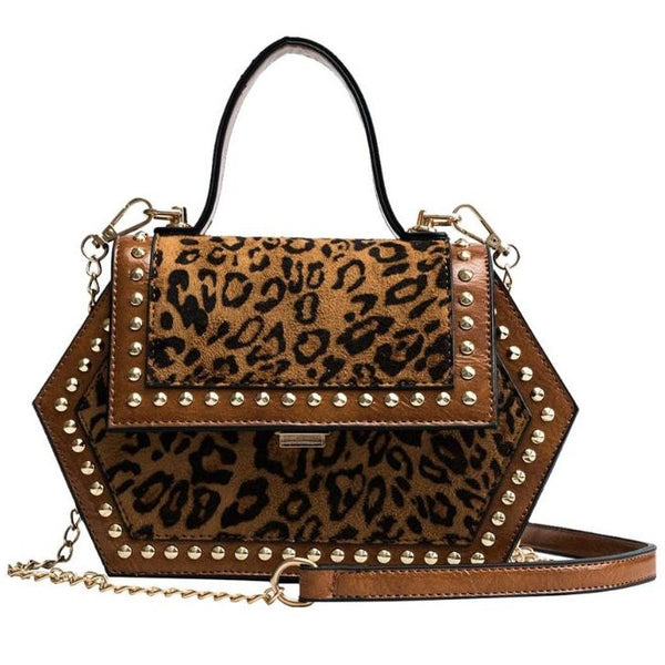 Brown Leopard Studded Bag