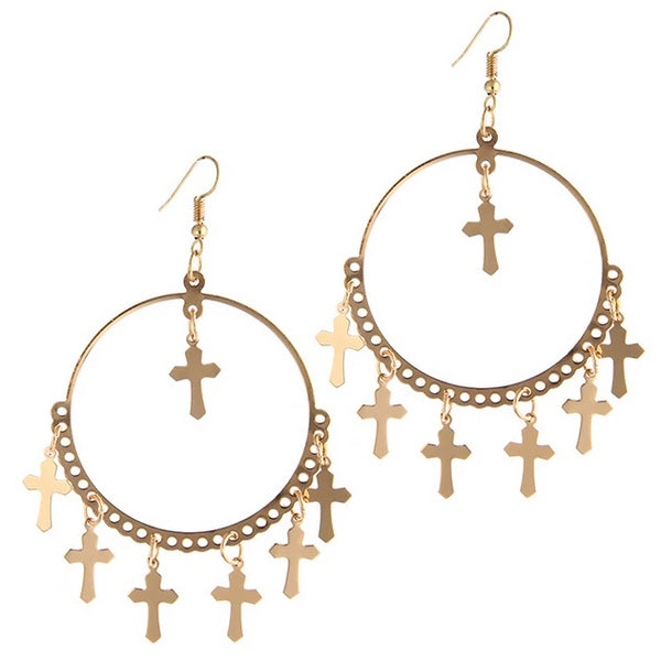 Gold Round Cross Statement Earrings