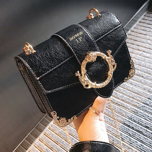 Black Faux Leather and Gold Love Bag