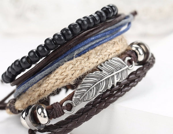 1 Set - 4PCS leather bracelet