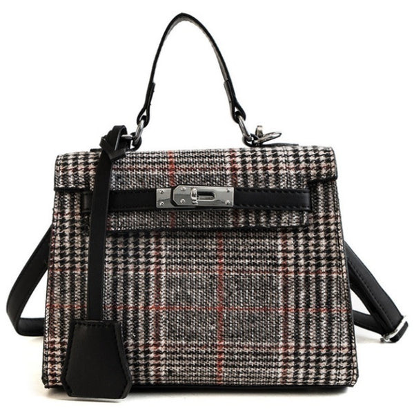 Gray and Red Plaid Bag