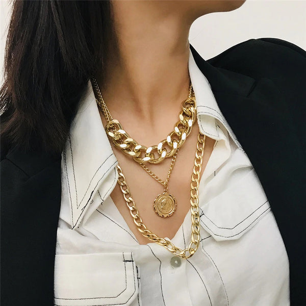 Three Layers Gold Statement Chain Necklace