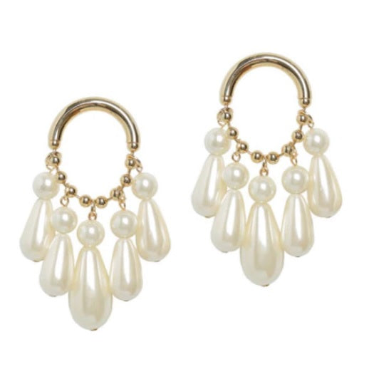Gold and White Pearl Statement Earrings