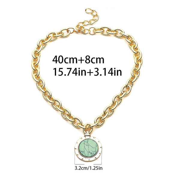 Gold Statement Chain Turquoise Marble