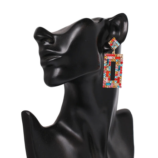 Dalia Colourful Rhinestone Statement Earrings