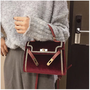 Burgundy Embroidered Velvet Bag
