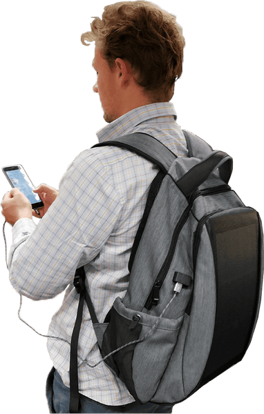 smart solar backpack with USB port