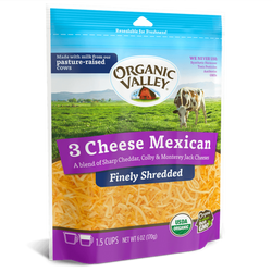 Organic Shredded 3 Cheese Mexican, 6oz