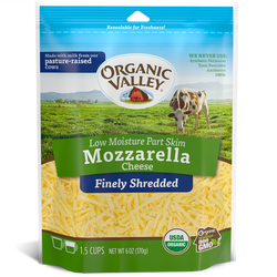 Organic Shredded Mozzarella, Part Skim, 6oz