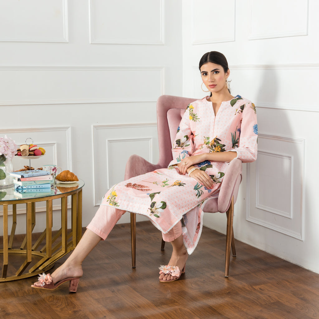 Mirage Peach Kurta