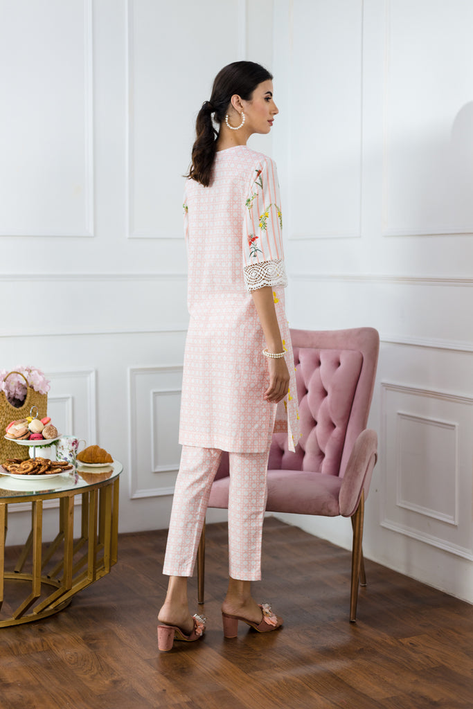 Lattice Peach Trousers