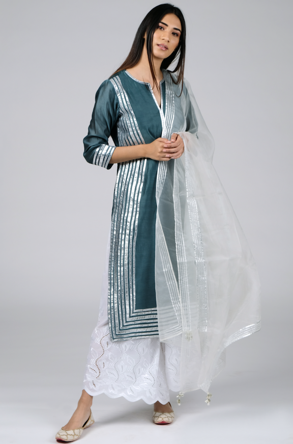 Chanderi Kurta with Embroidered Palazzos and Dupata