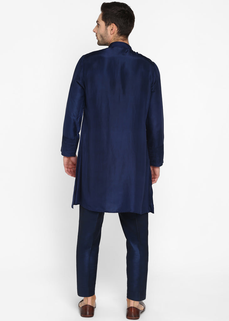 Navy Blue Silk Kurta Set
