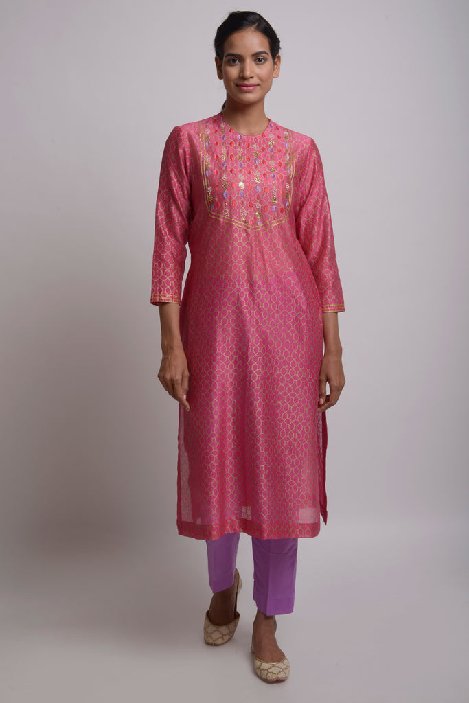 Rosey Horizon Chanderi Set