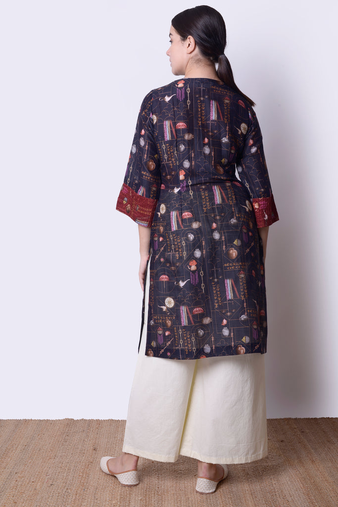 Kabira Navy Pin-tucks Kurta Set