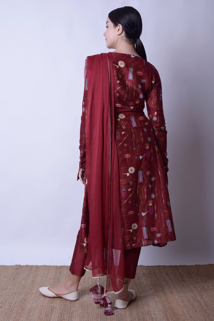 Kabira Maroon Draped Kurta Set