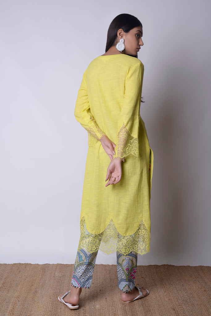 Acid Yellow Linen Kurta