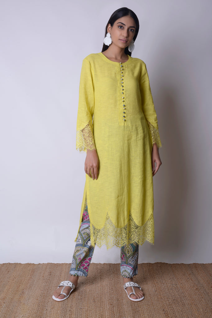 Acid Yellow Linen Kurta Set