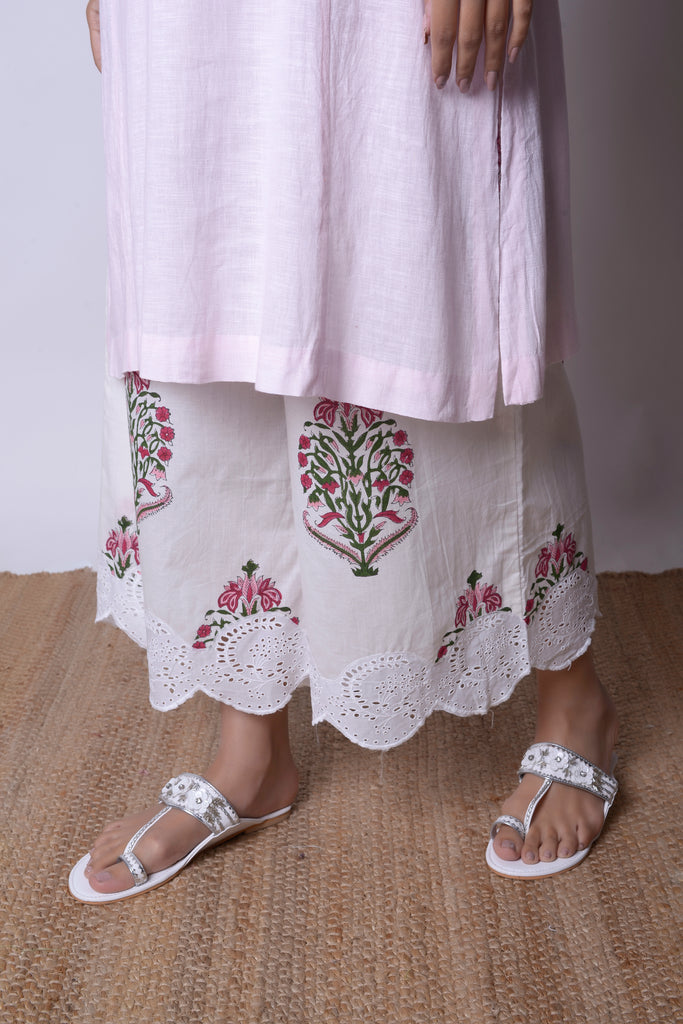 Powder Pink Linen Kurta Set