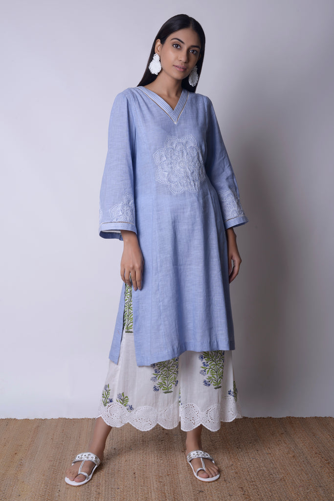 Powder Blue Linen Kurta Set