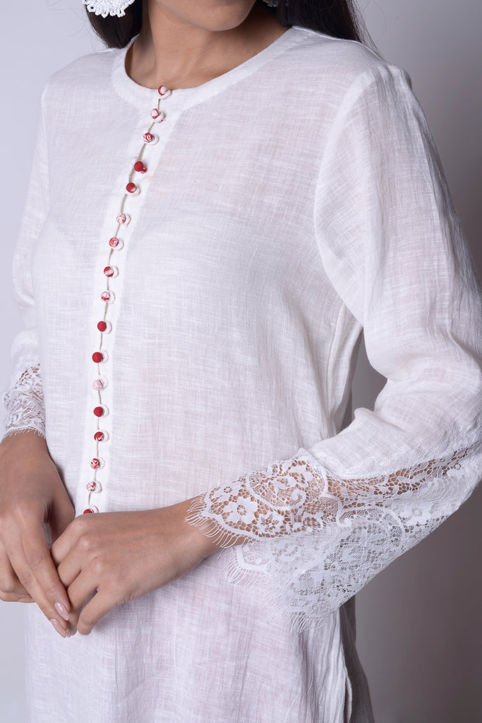 White Linen Kurta Set