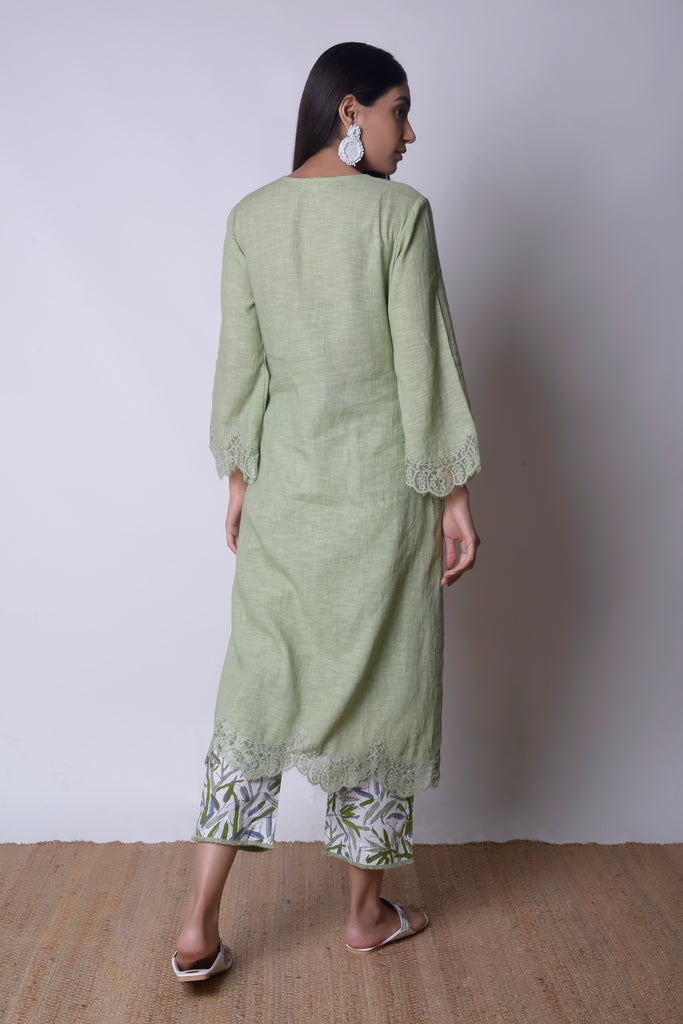 Sage Green Linen Kurta Set