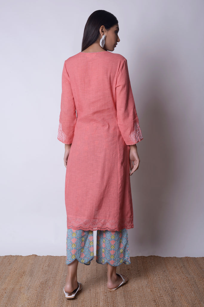 Peach Linen Kurta Set