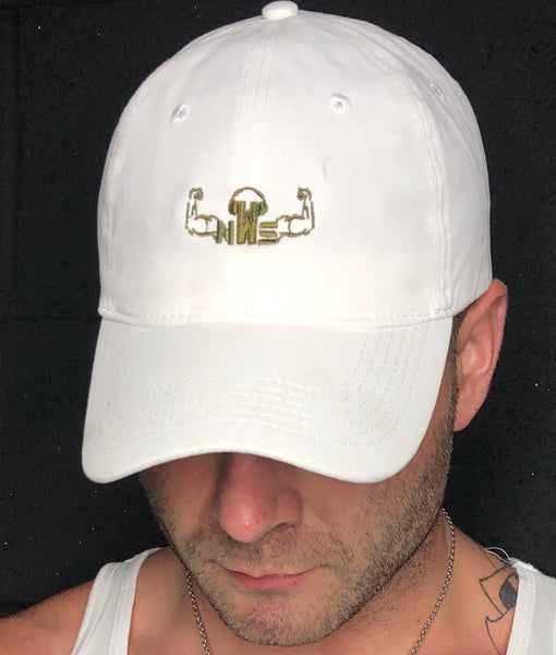 NEW ARRIVAL - Dad Hat - White w/ Army Green Logo