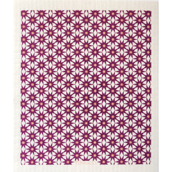 Starburst Plum on White Sponge Cloth
