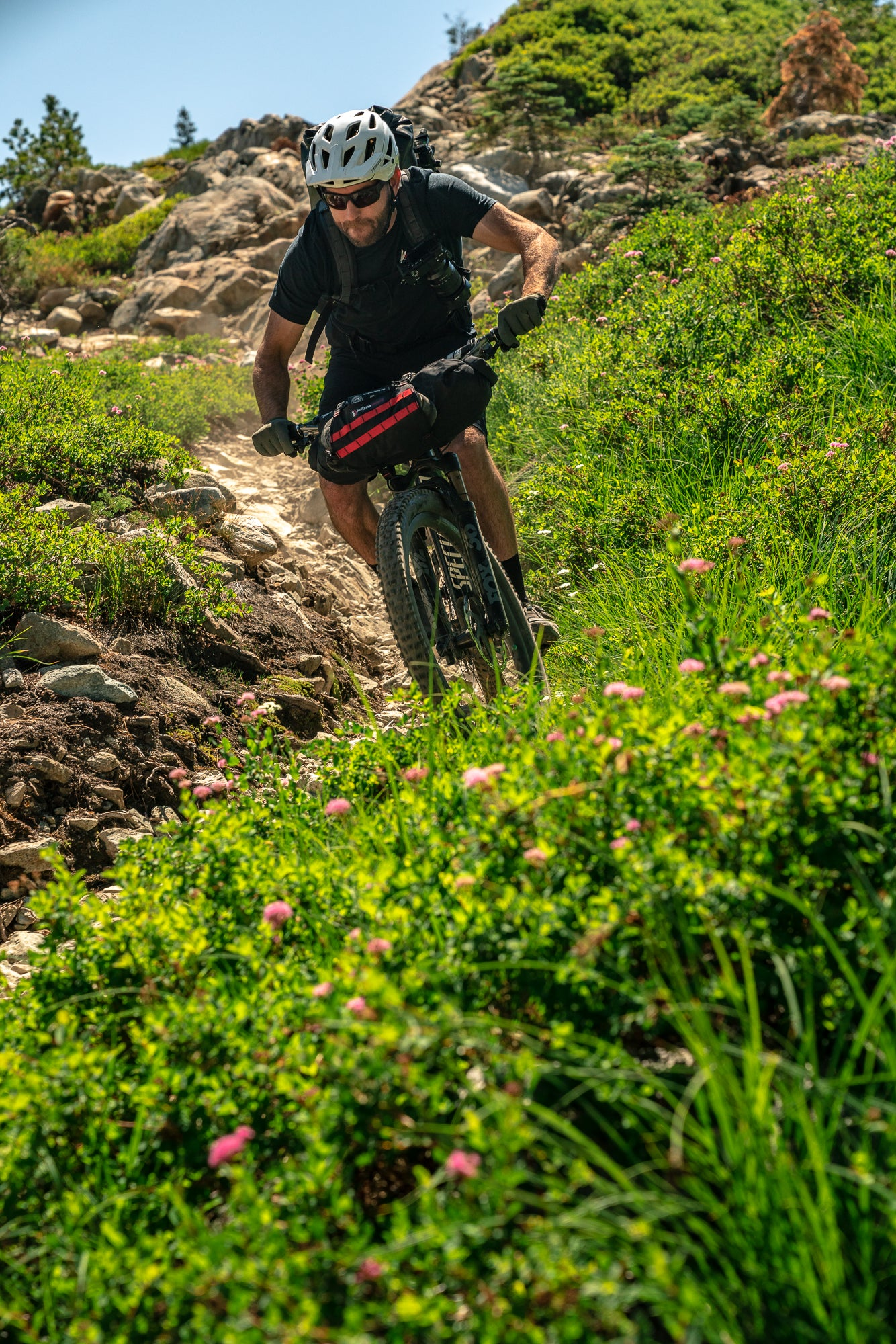 Jason Fitzgibbon Riding a Mountain Bike in the Lost Sierra Mountains