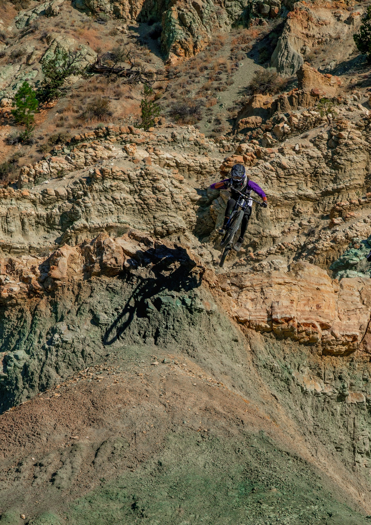 Mountain Biker Riding off a Jump